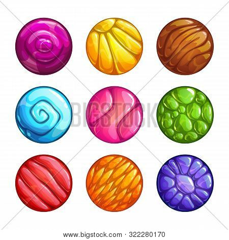 Colorful Round Jelly Icons. Slimy Assets For Game Design.