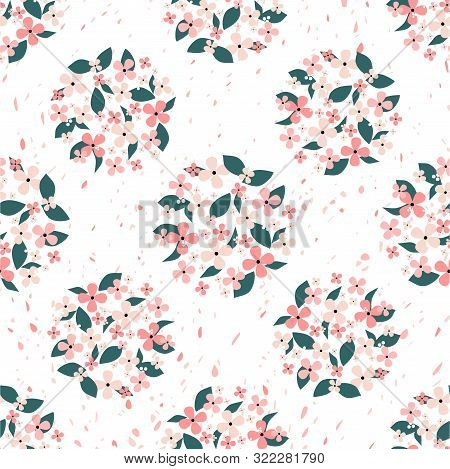 Pink Flowers And Green Leaves Gathered In A Circle Seamless Pattern With Petals In The Background. S