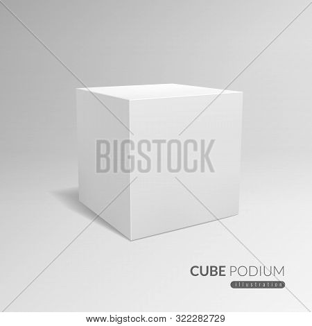Cube Podium. 3d Cube Pedestal, White Blank Block For Product Promo. 3d In Perspective With Shadow Ve