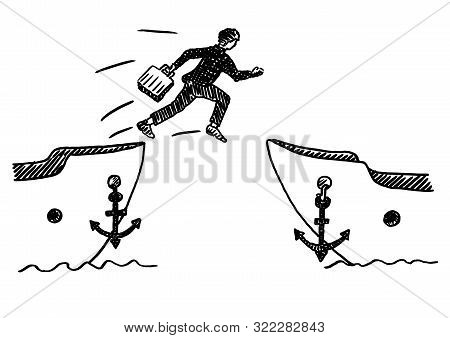 Hand Drawn Felt Tip Pen Sketch Of Businessman Jumping Ship With Portfolio In Hand. Business Concept