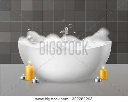 Bath With Foam. Relaxing Bath With Soap Bubbles Foaming, Bubbly Bathtub In Luxurious Bathroom And Bu