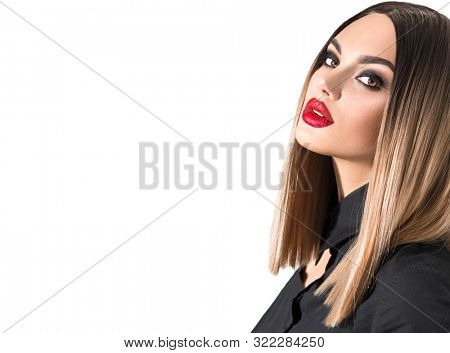 Trendy fashion hairstyle, haircut, ombre dyed hair. Beauty Model girl with perfect healthy hair and beautiful makeup posing in studio, young woman portrait isolated on white background