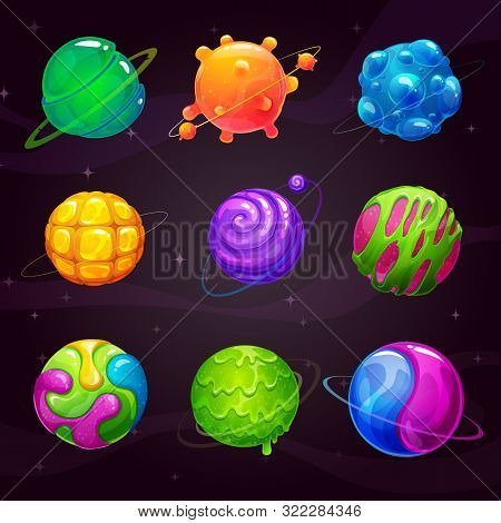 Cartoon Colorful Slime Planets Set. Fantasy Alien Slimy Planet On The Space Background.