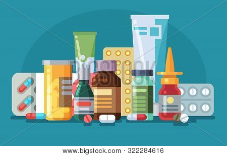 Medicine. Pills, Capsules And Glass Meds Bottles With Medicine, Tubes With Ointment, Medication Spra