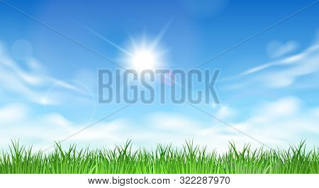 Blue Sky And Grass. Skies Garden Vector Image, Background With Sun, Clouds And Summer Green Hill Fie