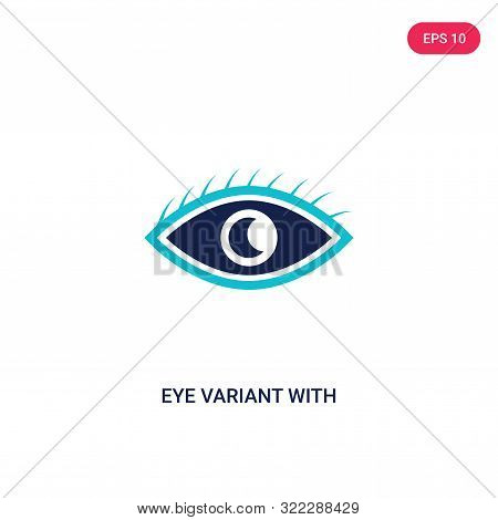 eye variant with enlarged pupil icon in two color design style.