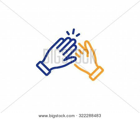 Clap Sign. Clapping Hands Line Icon. Victory Gesture Symbol. Colorful Outline Concept. Blue And Oran