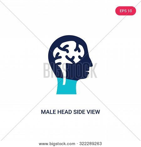 male head side view with brains icon in two color design style.