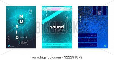 Vivid Electro Music. Electronic Motion Background. Fluorescent Dj Beats. Wave Event. Futuristic Elec