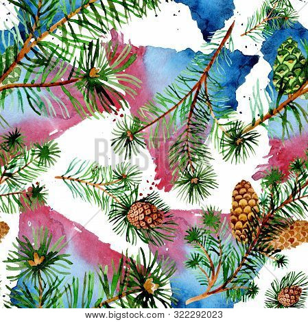 Branches Of Spruse And Pine. Watercolor Background Illustration Set. Seamless Background Pattern.