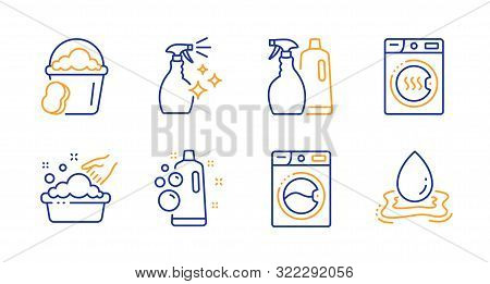 Sponge, Washing Cleanser And Washing Machine Line Icons Set. Clean Bubbles, Shampoo And Spray And Dr