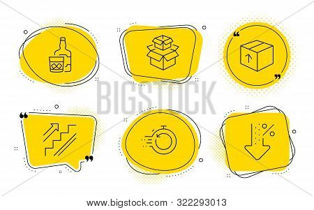 Whiskey Glass, Fast Recovery And Low Percent Signs. Chat Bubbles. Package, Packing Boxes And Stairs