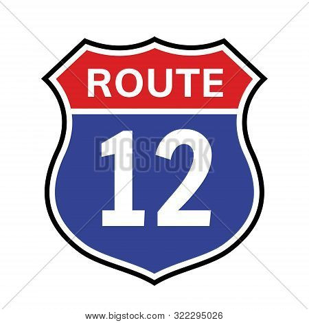 12 Route Sign Icon. Vector Road 12 Highway Interstate American Freeway Us California Route Symbol