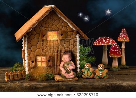 Adorable newborn baby sleeping in front of his edible cookie fairy house
