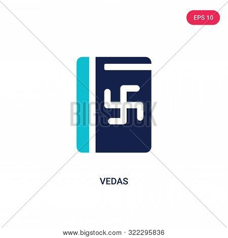vedas icon in two color design style. vedas vector icon modern and trendy flat symbol for web site, mobile, app, logo, UI. vedas colorful isolated icon on white background. vedas icon simple vector illustration, EPS10.