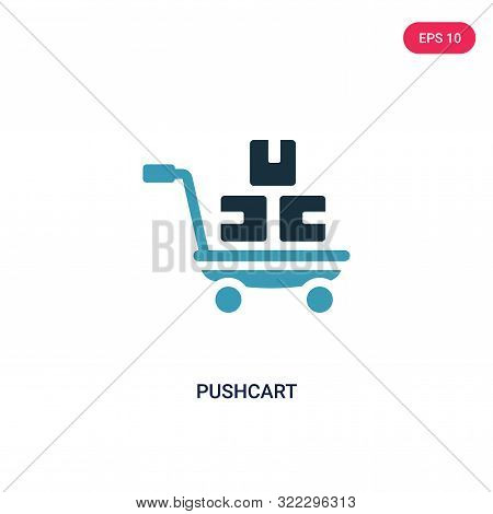 pushcart icon in two color design style.