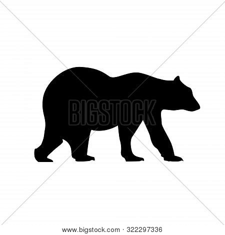 Bear Silhouette Vector Grizzly Icon Black. Polar Grizzly Illustration Logo Bear Design