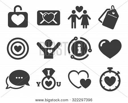 Target With Heart, Oath Letter And Locker Symbols. Discount Offer Tag, Chat, Info Icon. Love, Valent