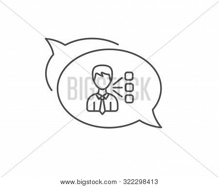 Third Party Line Icon. Chat Bubble Design. Team Leader Sign. Business Conversation Symbol. Outline C