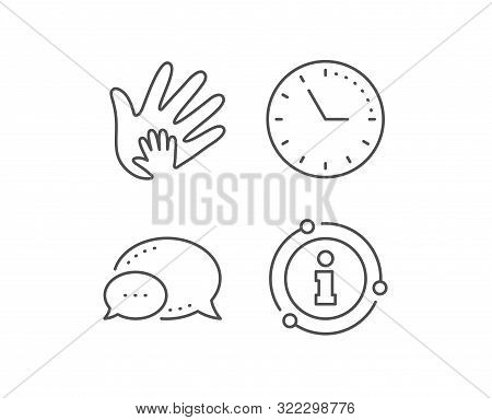 Hand Line Icon. Chat Bubble, Info Sign Elements. Social Responsibility Sign. Honesty, Collaboration