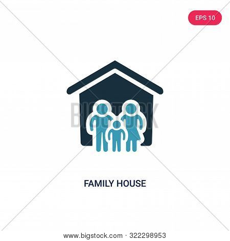 Family House Icon In Two Color Design Style. Family House Vector Icon Modern And Trendy Flat Symbol