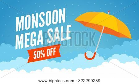 Monsoon Sale Offer Rain Season Background. Rainy Monsoon Promotion Poster Template