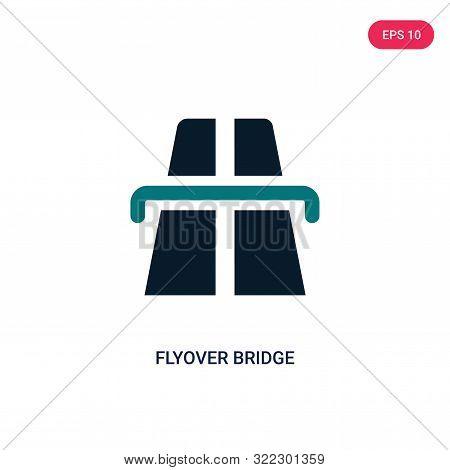 flyover bridge icon in two color design style.