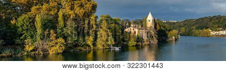 Autumn In The 9th Arrondissement Of Lyon: The Green Island Ile Barbe In The Saone