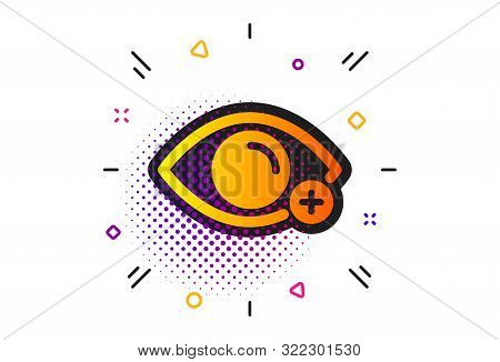 Eye Diopter Sign. Halftone Circles Pattern. Farsightedness Icon. Optometry Vision Symbol. Classic Fl