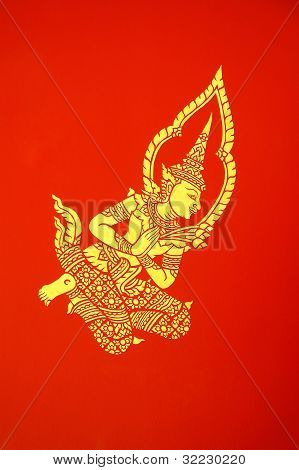 Deva Mural In Temple Pavillion  Chiang Mai