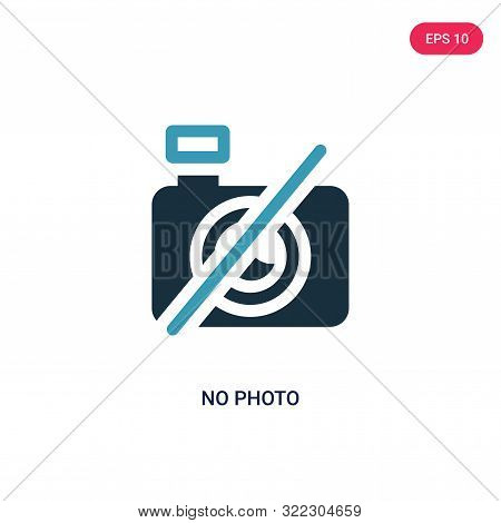 No Photo Icon In Two Color Design Style. No Photo Vector Icon Modern And Trendy Flat Symbol For Web