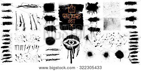 Very Nice Collection Of Black Paint, Isolated Grunge Set. Great Elaboration, Template Ink Brush Stro