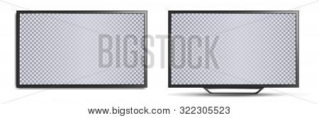 Tv Mockup With Blank Screen. Two Realistic 3d Tvs, Wall-mounted And With Legs For Horizontal Surface