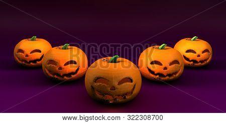 Grinning Jack-o-Lantern Pumpkin Template Wallpaper 3d Render