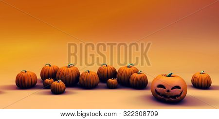Happy Halloween Background as a Spooky Abstract with Pumpkins 3d Render