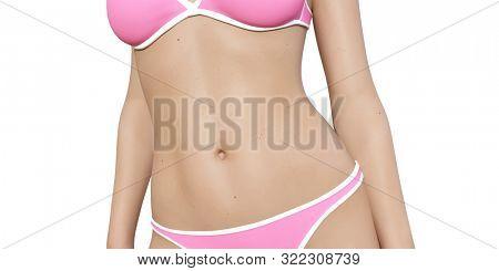 Bikini Model Female Body for Fashion 3d Render