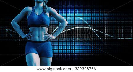 Fitness Presentation Background with Toned Woman 3d Render