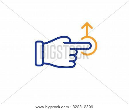 Slide Arrow Sign. Drag Drop Gesture Line Icon. Swipe Action Symbol. Colorful Outline Concept. Blue A