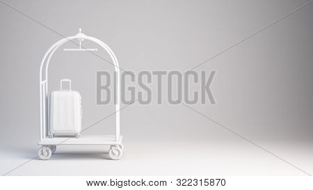 White Hotel Luggage Trolley with suitcese on white background. 3d rendering