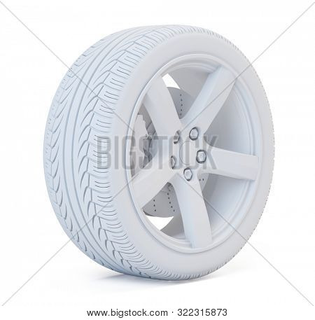 White render of Car wheel with breke disc and caliper isolated on white. 3d illustration