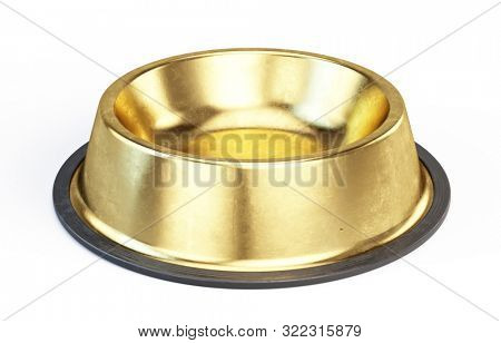 Gold Metall Pet bowl isolated on the white background. 3d render