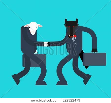 Sheep And Wolf Handshake. Business Negotiations Vector Illustration