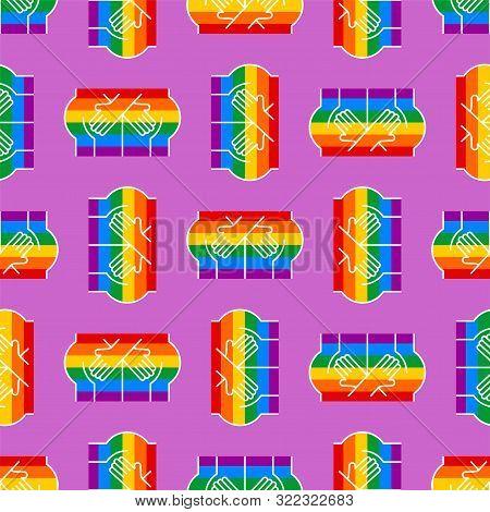 Gay Flag Hands Hug Ass Pattern Seamless. Lgbt Rainbow. Hold Each Other's Ass Background
