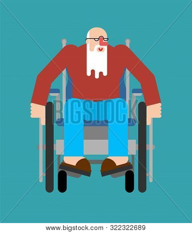 Granddad On Wheelchair. Disabled Grandfather Can't Walk