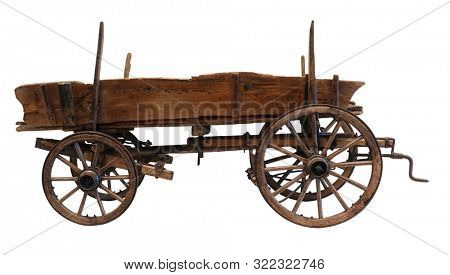 Wooden cart wagon carriage isolated on white background