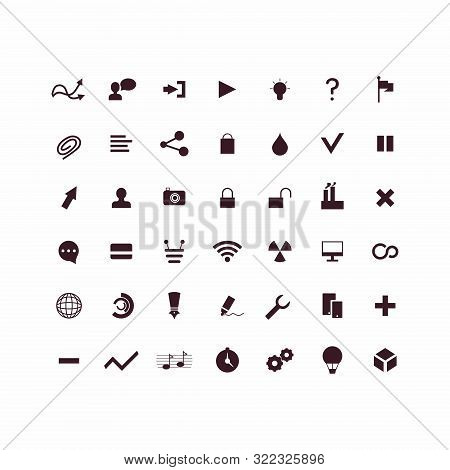 Set Of Icons For Business Infographics. Minimalistic Icons In Black. Large Set For Different Busines