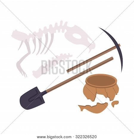 Archaeological Excavation Tools And Prehistoric Fossils, Pickaxe, Shove, Animal Skeleton, Ceramic Cr