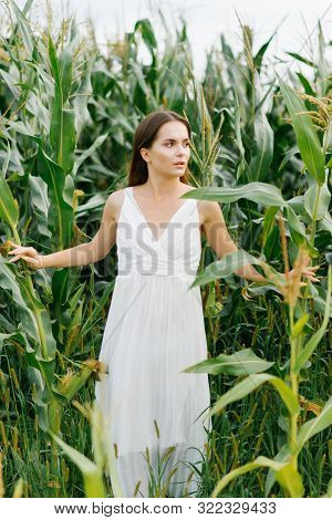 Girl In White Dress Looks In Surprise To The Side In The Corn Field, Enjoying Nature, Environmental