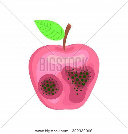 Spoiled Rotten Apple With Mold. Vector Image On White Background