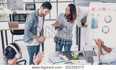 Female Creative Director Boss Announce To Designer And Congratulation About Getting Promotion Of Job